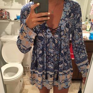 Blue printed babydoll dress